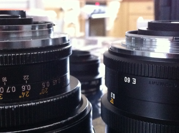 Two Leica R lenses with different mounts
