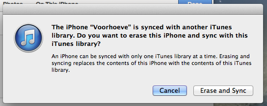 The phone is synced with another iTunes library